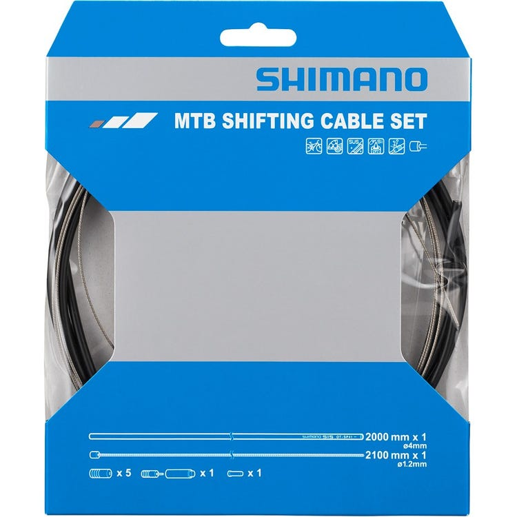 Shimano Spares MTB gear cable set for rear only, stainless steel inner, black