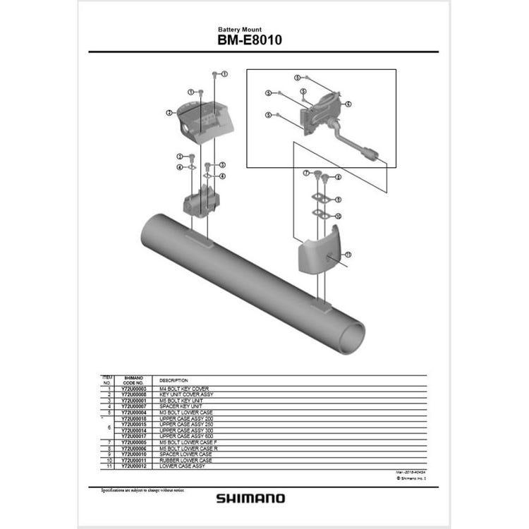 Shimano Spares BM-E8010 upper case assembly 250 mm