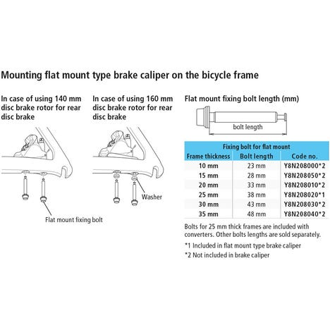 Flat mount calliper to flat mount frame fixing bolt variou lengths